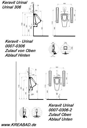 urinal urinalbecken pissuar urinale pissoir keravit ideal zulauf von oben abgang nach unten 306. Black Bedroom Furniture Sets. Home Design Ideas