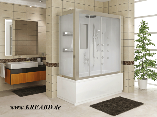 Badewanne Duschkabine Massagedusche Rechteck Dusche 160x80 Compact System  Kreafresh