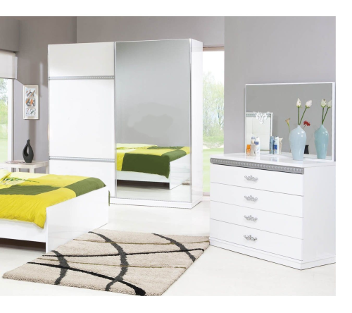 Schlafzimmer, Schlafzimmermöbel, Kleiderschrank Bett Kommode Prestije
