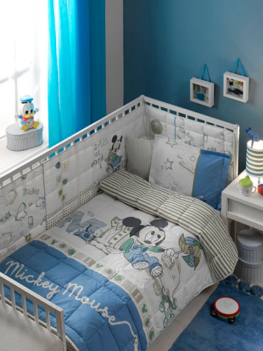 Disney Micky Mause Baby 4 Tlg Set Bettwäsche Bettbezug