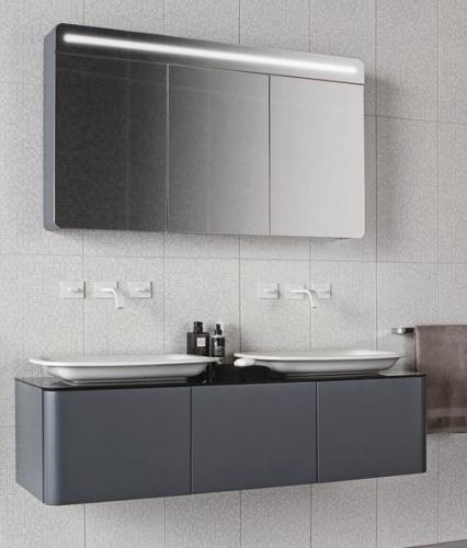 Badezimmer Badmöbel Set Unterschrank + Spiegelschrank Bond 140 Antrazit