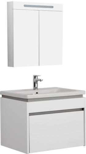 Idea Badmöbel Set mit Waschtisch und Spiegelschrank 60cm Weiß Glänzend