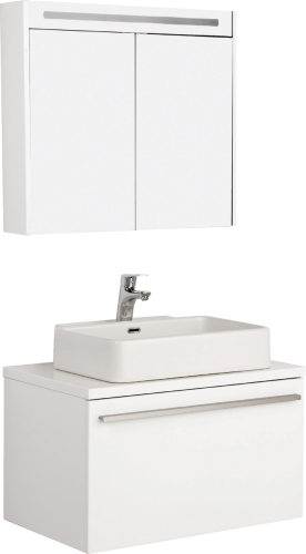 Badmöbel Set Badezimmer Unterschrank 65cm mit Waschbecken und  Spiegelschrank 65cm in Weiß