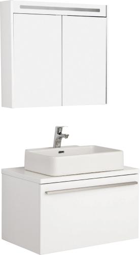 Badmöbel Set Badezimmer Unterschrank 100x50cm mit Waschbecken und  Spiegelschrank 80cm in Weiß