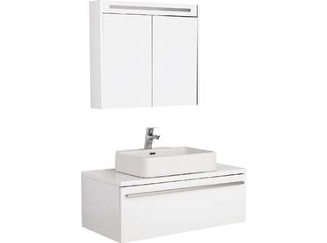 Badmöbel Set Badezimmer Unterschrank 100x50cm mit Waschbecken und  Spiegelschrank 80cm in Weiß FLAT