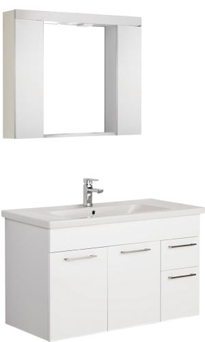 Badmöbel Set Unterschrank Waschtisch + Spiegelschrank 110cm x 43,2cm Weiß  Glänzend Opera