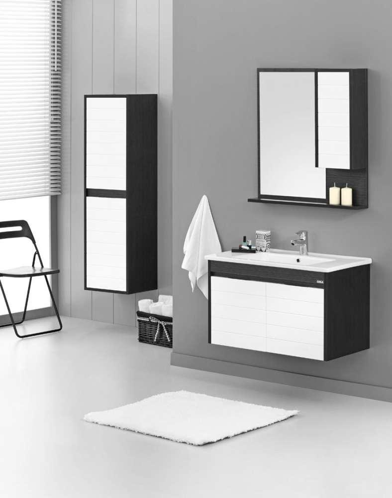 Badmöbel Set 80x45cm Unterschrank + Waschbecken +Spiegelschrank ...