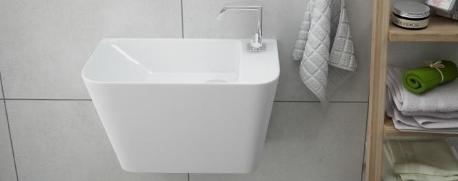 Waschbecken Klein Monoblock 50x28 Für Kleine Bäder Farbe :Weiss