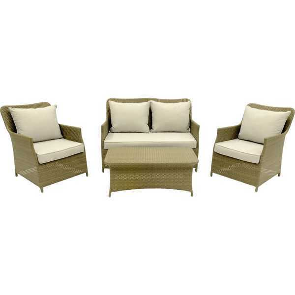 Gartenmöbel Set Lounge-Set geflochten, 4-tlg. Marakkesch Lesli ...