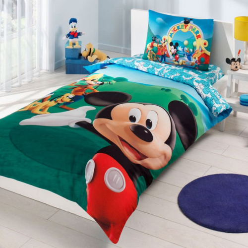 Disney Micky Maus Club 3 tlg. Set Bettwäsche Bettbezug Kopfkissen Bettlaken Micky Mouse Club