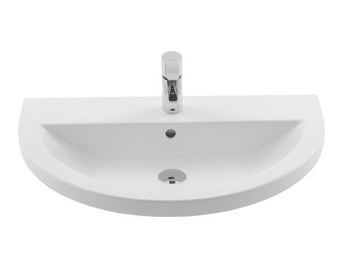 waschbecken 70x45cm handwaschbecken mit hahnloch und berlauf 70cm thin oval badshop baushop. Black Bedroom Furniture Sets. Home Design Ideas