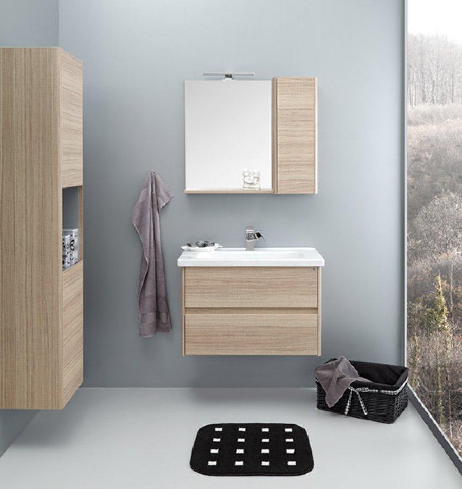Badmöbel Set Duden 17x17 Unterschrank + Waschbecken mit Spiegelschrank Eiche