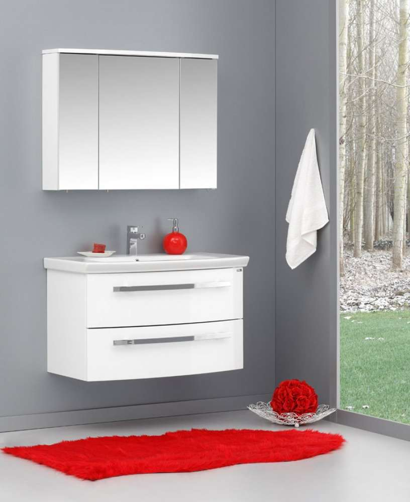 Badmobel Schrank Unterschrank Waschbecken Spiegelschrank 90cm Weiss