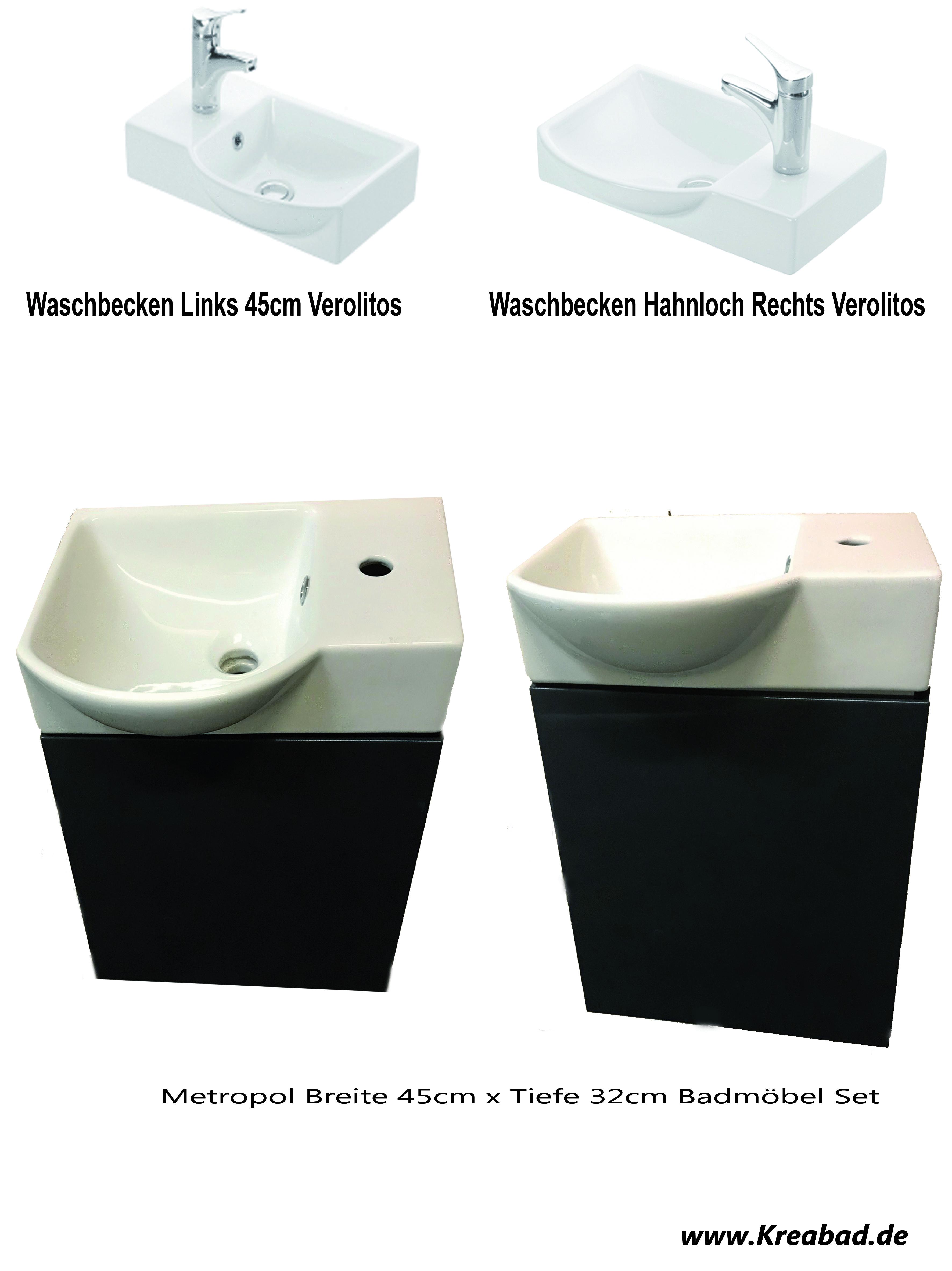 Badmöbel Urban 80cm Waschbecken ohne Hahnloch + Spiegelschrank + Spiegel  farbe Cappuccino