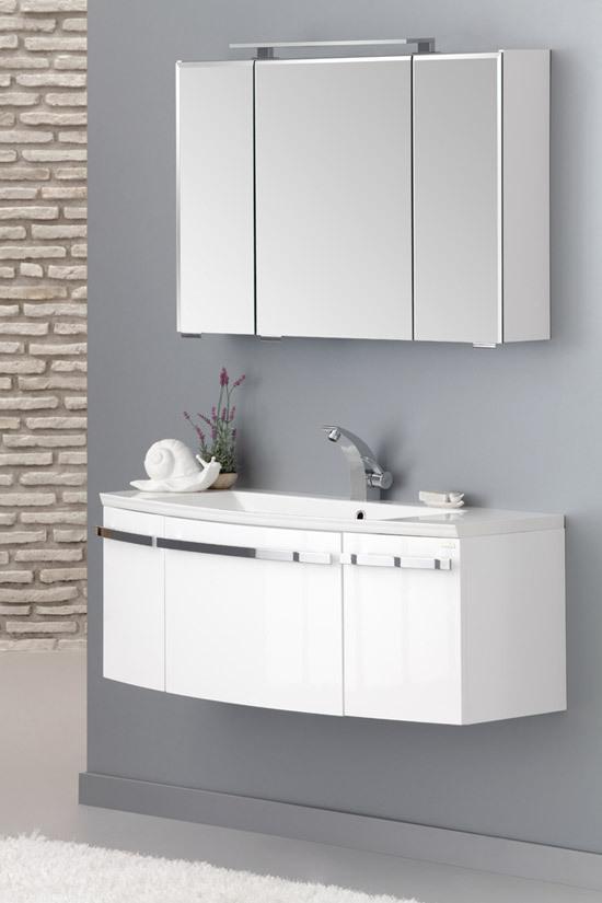 Badmöbel Urban 80cm Waschbecken mit Hahnloch + Spiegelschrank +  Unterschrank Farbe Cappuccino
